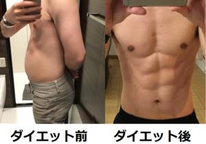 ダイエットを始める前の私の体とダイエット3ヶ月後の私の体の写真